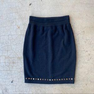 Escalating Black Wool Gold Detailed Pencil Skirt